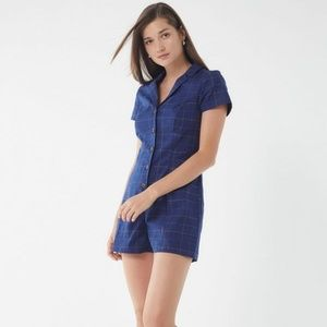 Urban Outfitters Blue Plaid Romper